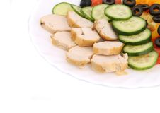 Chicken salad and vegetables. Stock Images