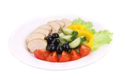 Chicken salad and vegetables. Royalty Free Stock Photo