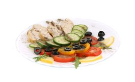 Chicken salad with vegetables and spices. Royalty Free Stock Photography