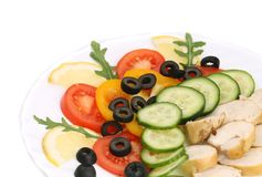 Chicken salad with vegetables and spicies. Stock Image