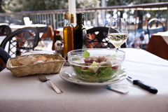 Chicken salad and white wine Stock Image