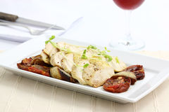 Chicken salad with wine Royalty Free Stock Image