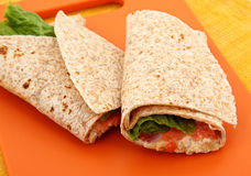 Chicken Salad Wrap On Cutting Board Royalty Free Stock Photos