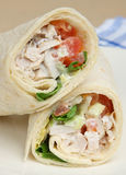 Chicken Salad Wrap Sandwich. Chicken salad in a soft tortilla wrap Stock Photos