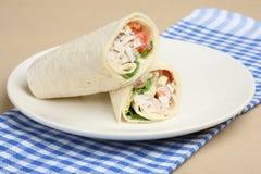 Chicken Salad Wrap Sandwich. Chicken salad in a tortilla wrap Royalty Free Stock Photo