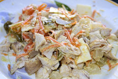 Chicken salad with wustard sauce Royalty Free Stock Images