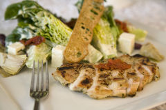 Chicken saled with hearts of romaine lettu stock photos