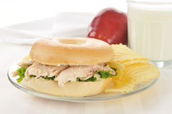 Chicken sandwich on a bagel Stock Photo