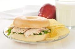 Chicken sandwich on a bagel Stock Photo