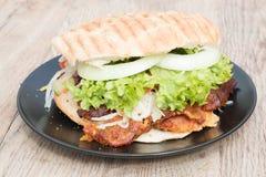 Chicken sandwich döner. Typical italian anti pasti on wood table Stock Image