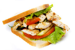 Chicken sandwich isolated on white Royalty Free Stock Images
