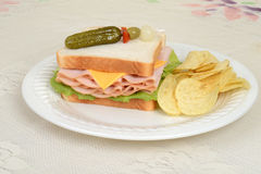 Chicken sandwich with pickle skewer Royalty Free Stock Image