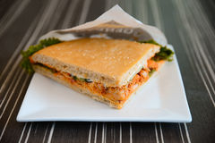 Chicken sandwich on a plate. In Europe Royalty Free Stock Photography