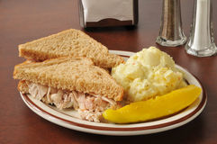 Chicken sandwich with potato salad royalty free stock images