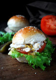 Chicken sandwich with tomatoes, green salad, yogurt based sauce and mustard Stock Photography