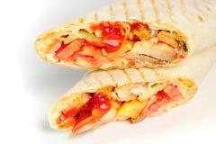 Chicken sandwich twisted in bread shaurma Stock Photo