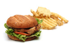 Chicken Sandwich. On a white background royalty free stock photo