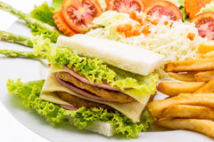 Chicken sandwich on a white plate with french fries Stock Photography