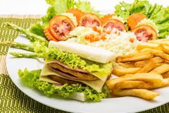 Chicken sandwich on a white plate with french fries Stock Photos