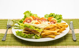 Chicken sandwich on a white plate with french fries Royalty Free Stock Photos