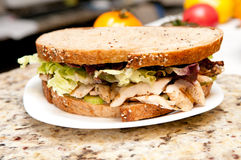 Chicken sandwich on whole wheat. Sliced chicken breast with heirloom tomatoes on fresh and healthy organic seed bread Royalty Free Stock Images
