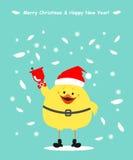 Chicken Santa Claus. Christmas card, chick clothing Santa ringin Royalty Free Stock Images