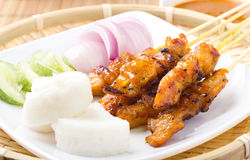 Chicken Satay. Delicious chicken satay skewers with fresh onion and cucumber stock photo