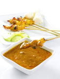 Chicken satay. Delicious chicken satay on skewers royalty free stock images