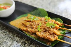 Chicken Satay , Asian food. Chicken Satay in close up , Asian food stock photo