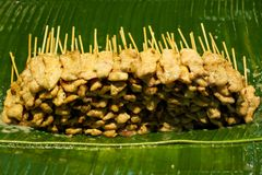 Chicken satay. One of famous Thai dishes Royalty Free Stock Image