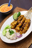 Chicken satay with peanut sauce, indonesian skewer cuisine Stock Photography