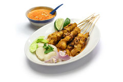 Chicken satay with peanut sauce, indonesian skewer cuisine Royalty Free Stock Images