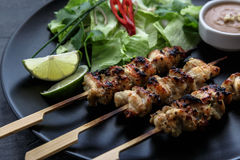 Chicken satay with peanut sauce, indonesian skewer food, close view Stock Photos