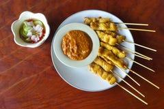 Chicken Satay with peanut sauce Royalty Free Stock Photography