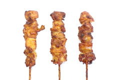 Chicken satay. Photo of asian food Chicken satay on white background royalty free stock photo