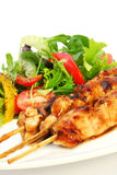 Chicken Satay and Salad. Delicious chicken satay skewers with fresh green salad stock photography