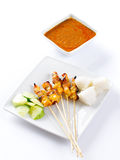 Chicken satay or sate Royalty Free Stock Images