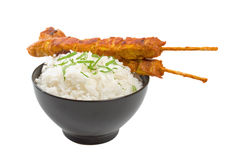 Chicken Satay Skewers with Rice Stock Photos