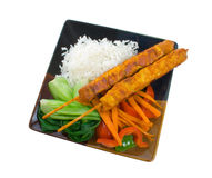Chicken Satay Sticks with Vegetables Royalty Free Stock Photo