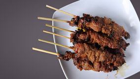 Chicken satay top view with copy space Royalty Free Stock Photo