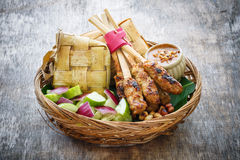 Chicken satay. Traditional balinese Chicken satay on wood background stock images
