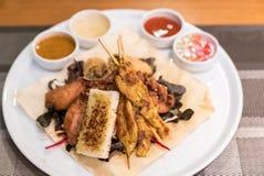 Chicken Sate Skewers. Thai groumet cuisine stock photo