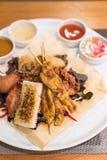 Chicken Sate Skewers. Thai groumet cuisine stock image