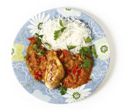 Chicken with sauce and rice from above Stock Image