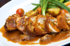 Chicken with sauce and veggies stock photography