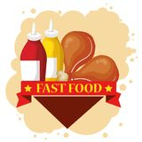 Chicken and sauces bottles. Vector illustration design Stock Photo