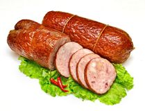 Chicken sausages isolated on a white Royalty Free Stock Photo