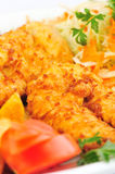 Chicken schnitzel closeup Stock Images