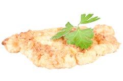 Chicken schnitzel. Delicious chicken schnitzel over a white background Royalty Free Stock Photo