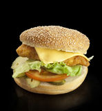Hamburger on a black background. With chicken schnitzel burger, cheese, pickles and tomatoes on a black background stock image